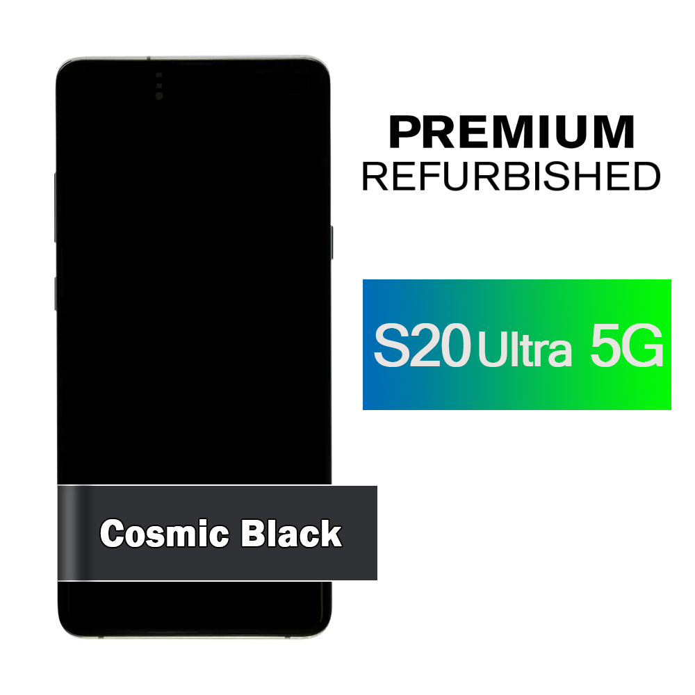 Samsung Galaxy S20 Ultra 5G Screen Assembly with Frame - Cosmic Black (Premium Refurbished)