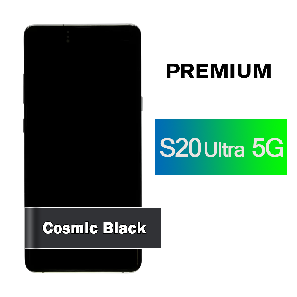 Samsung Galaxy S20 Ultra 5G Screen Assembly with Frame - Cosmic Black (Premium)