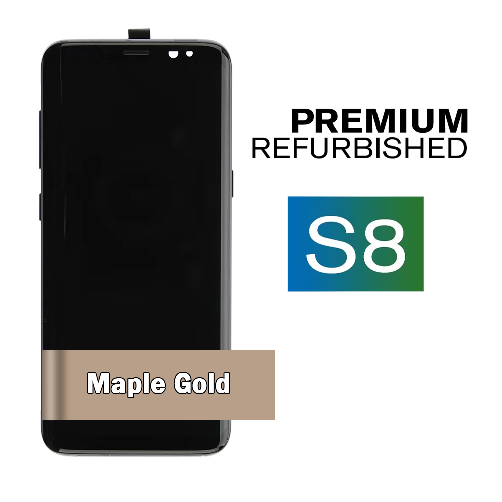 Samsung Galaxy S8 Maple Gold Screen Assembly with Frame (Premium Refurbished)