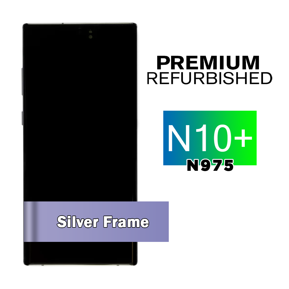 Samsung Galaxy Note 10+ Silver Screen Assembly with Frame (Premium Refurbishedhed)
