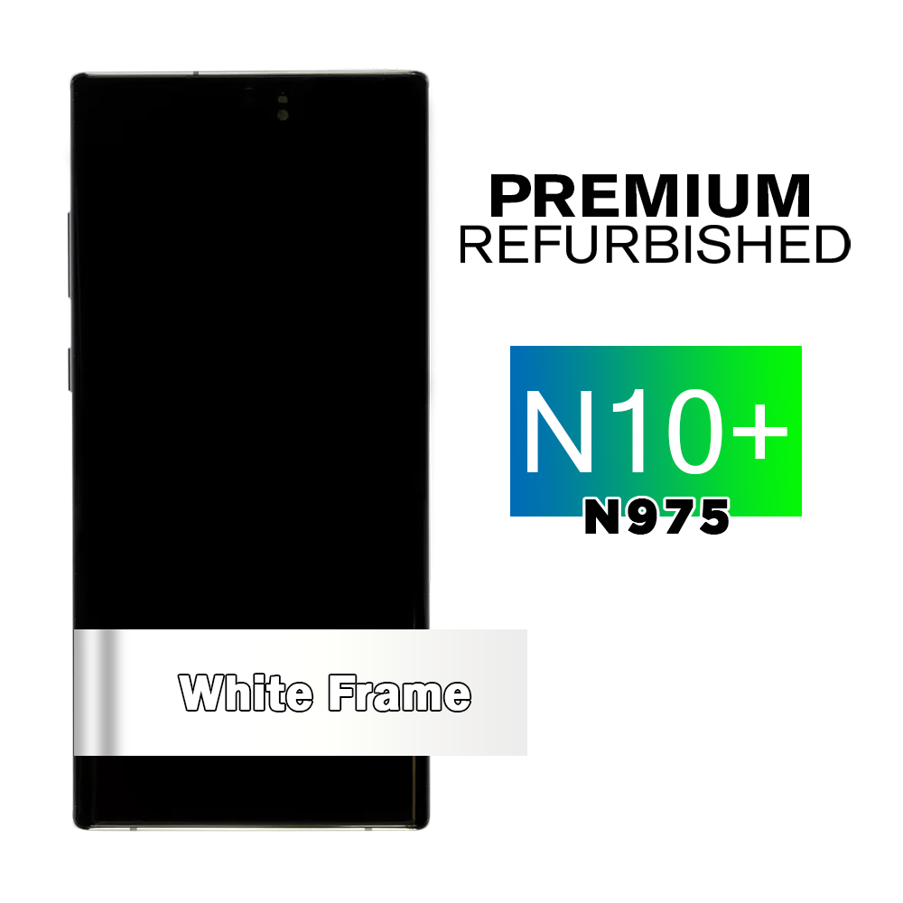 Samsung Galaxy Note 10+ White Screen Assembly with Frame (Premium Refurbished)